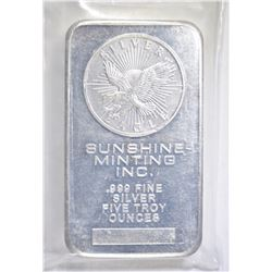 FIVE OUNCE .999 SILVER BAR