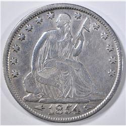 1854-O ARROWS SEATED LIBERTY HALF DOLLAR   XF