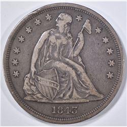1843 SEATED LIBERTY DOLLAR  VF/XF