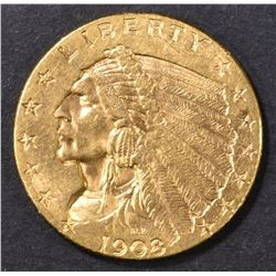 1908 $2.5 GOLD INDIAN  CH BU