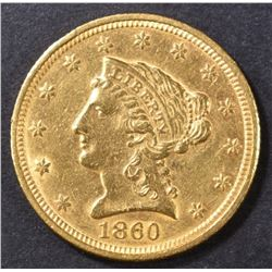 1860-C $2.5 GOLD LIBERTY  BU OLD CLEANING