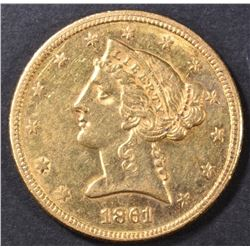 1861 $5 GOLD LIBERTY HEAD  BU  OLD CLEANING