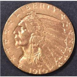 1910-S $5 GOLD INDIAN  CH/GEM BU