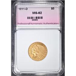 1911-D $5 INDIAN HEAD  PNA CH BU