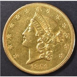 1851-O $20 GOLD LIBERTY  BU  OLD CLEANING