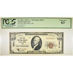 1929 TYPE 1 $10 NC 1ST NB OF DALTON, OH  PCGS 63