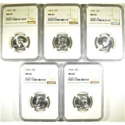 (5) 1964 WASHINGTON QTRS NGC MS65