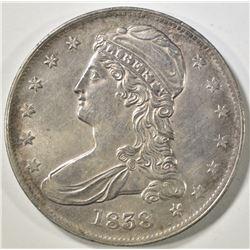 1838 REEDED EDGE BUST HALF DOLLAR  BU