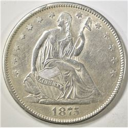 1875-S SEATED LIBERTY HALF DOLLAR  CH AU