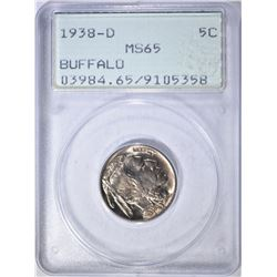 "1938-D BUFFALO NICKEL, PCGS MS-65 ""RATTLER"" HOLDER"