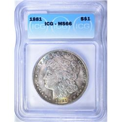 1881 MORGAN DOLLAR, ICG MS-66