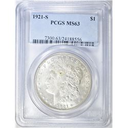 1921-S MORGAN DOLLAR PCGS MS-63