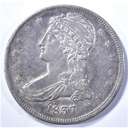 1837 REEDED EDGE BUST HALF DOLLAR, AU