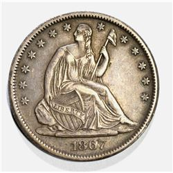 1867-S SEATED HALF DOLLAR ORIG AU