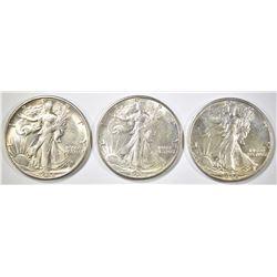 3 - 1944-S WALKING LIBERTY HALF DOLLARS