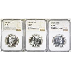 3-1966 SMS KENNEDY HALF DOLLARS, NGC MS-67