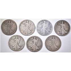 7-WALKING LIBERTY HALVES FROM 1917 AS FOLLOWS