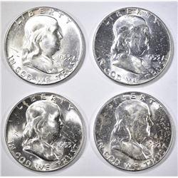 4-1953 FRANKLIN HALF DOLLARS, CH BU