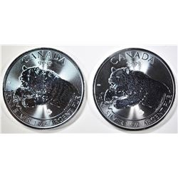 2-2019 1oz SILVER CANADA ROARING GRIZZLY COINS