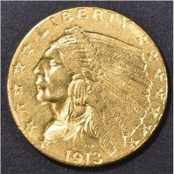 1913 $2.50 GOLD INDIAN, AU/BU