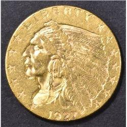 1927 $2.50 GOLD INDIAN, CH AU