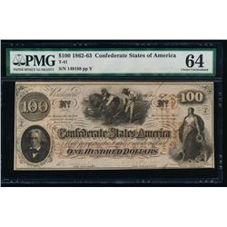 1862-63 $100 Confederate States of America Note PMG 64