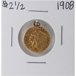 1908 $2 1/2 Indian Head Quarter Eagle Gold Coin - Ex Jewelry