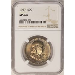 1957 Franklin Half Dollar Coin NGC MS64 Nice Toning