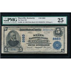 1902 $5 Maysville National Bank Note PMG 25