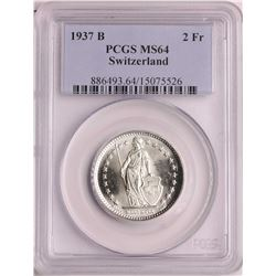 1937B Switzerland 2 Francs Silver Coin PCGS MS64