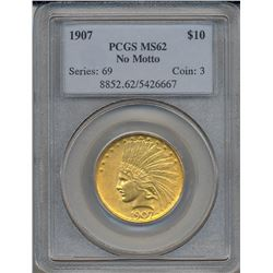 1907 $10 Indian Head Eagle Gold Coin PCGS MS62