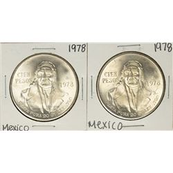 Lot of (2) 1978 Mexico Cien Pesos Silver Coins