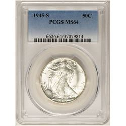 1945-S Walking Liberty Half Dollar Coin PCGS MS64