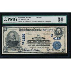 1902 $5 Portland National Bank Note PMG 30