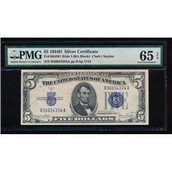 1934D $5 Silver Certificate PMG 65EPQ