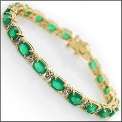 Plated 18KT Yellow Gold 13.29ctw Green Agate and Diamond Bracelet