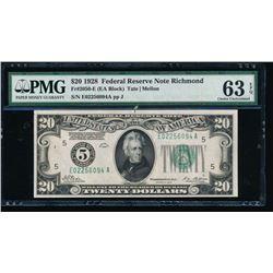 1928 $20 Richmond Federal Reserve Note PMG 63EPQ