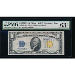 1934A $10 North Africa Silver Certificate PMG 63EPQ