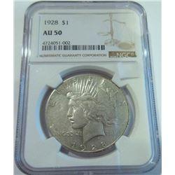 1928 $1 Peace Silver Dollar Coin NGC AU50