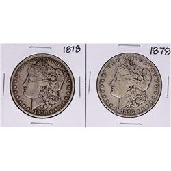 Lot of (2) 1878 $1 Morgan Silver Dollar Coins