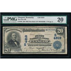 1902 $20 Glasgow National Bank Note PMG 20