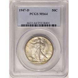 1947-D Walking Liberty Half Dollar Coin PCGS MS64