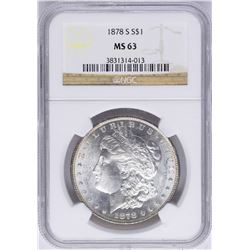 1878-S $1 Morgan Silver Dollar Coin NGC MS63