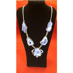 Sterling Silver 135ctw Druzy Necklace
