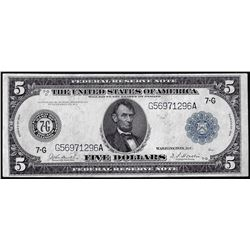 1914 $5 Federal Reserve Bank Note Chicago