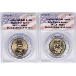 Lot of (2) 2008 Presidential Oath Dollar Coins ANACS MS65