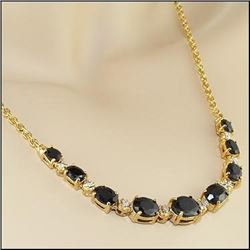 Plated 18KT Yellow Gold 5.85ctw Black Sapphire and Diamond Pendant with Chain