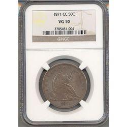 1871-CC Liberty Seated Half Dollar Coin NGC VG10