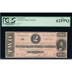 1864 $2 Confederate States of America Note PCGS 62PPQ