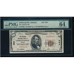 1929 $5 Indianapolis National Bank Note PMG 64